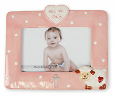 "Baby Girl Christening Baptism Pink Porcelain Photo Picture Frame 6 3/4"" x 8 1/4"