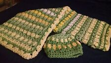 HANDMADE New Baby Afghan Blanket & Hat set yellow & greens