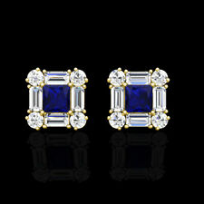 1.00CT Princess Baguette Round Sapphire Diamond Cluster Earrings 14K Yellow Gold