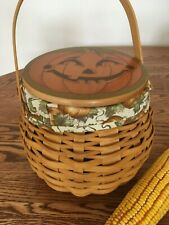 Longaberger 2001 Pumpkin Patch Basket and Pumpkin Face Lid Combo