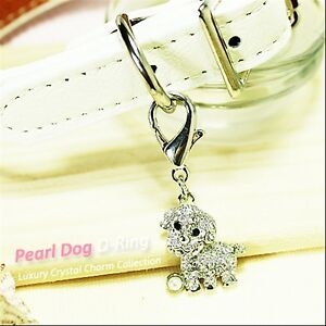 Dog/Cat Luxury Cute Collar Charm- Clear Pearl Puppy Pet/Animal Crystal Silver