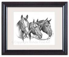 AMERICAN QUARTER HORSE BEAUTIFUL FRAMED ART western bridles Artist Signed NICE