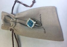David Yurman Sterling Silver 11mm Blue Topaz Chatelaine Ring w. Pave Diamonds
