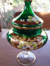 Vintage Murano Emerald Glass Pedestal Lidded Bowl   24kGold  Enameled Flowers