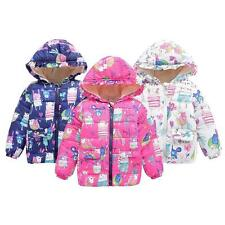 2-7Y Toddler Baby Kids Winter Hooded Clothes Floral Coat Boy Girl Jacket Outwear