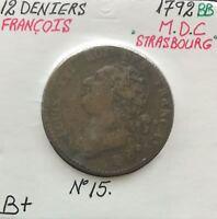 12 DENIERS - LOUIS XVI - 1792BB - Pièce de Monnaie en MDC // B+