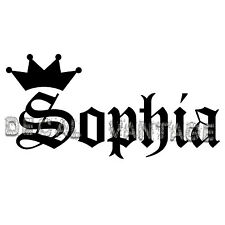 Sophia Vinyl Sticker Decal Crown Name Old English - Choose Size & Color