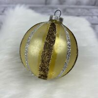 West Germany DBGM Christmas Ornaments White Gold Silver Glitter Stripes Vintage