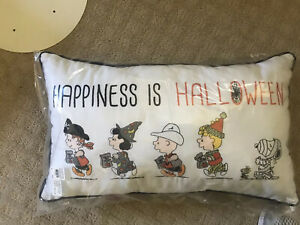Pottery Barn Kids Peanuts Happiness Is Halloween Pillow Snoopy NEW