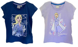 Disney Frozen 2 Girl's T-Shirt Character Print Short Sleeve Cotton Tops for Kids