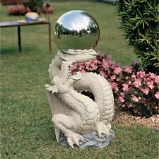 Ng30854 Sir Sagremor's Dragon Statue with Gazing Orb/Globe - Garden Mirror Ball