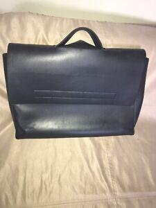 Zara Mens Blue Foldover Smooth Faux Leather Medium Messenger Bag