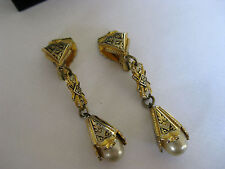 A Stunning Pair of Spanish Damascene Clip on Dropper Earrings