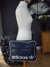 VINTAGE ADIDAS  NAVY BLUE & WHITE MESSENGER BAG GREAT CONDITION