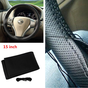 15 inch Anti-Slip Microfiber Leather Car Steering Wheel Cover DIY Hand Sewing