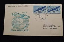 1ST FLIGHT COVER 1941 HAND CANCEL FAM-22 AFRICA  SAN JUAN TO LEOPOLDVILLE (3189)