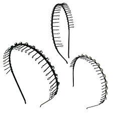 3 pcs Hairband Comb Headband Metal Wire Teeth w/Crystal Rhinestones Pearl Assort