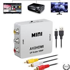 1080p AV a HDMI Adaptador Convertidor RCA CVBS Audio Video Converter + Cable USB