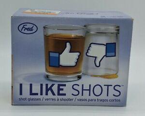 "Social Media FB Two Shot Glasses ""I LIKE SHOTS"" Thumbs Up LIKE 4 Ounces (oz)"