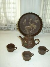 Art Deco, Exquisite,Handmade, Signed 6pc Earthenware, High Relief Floral Tea Set