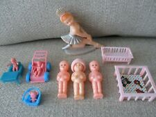 "Vintage ""Best Usa� Celluloid Molded Doll, Lot Of Miniature Baby Dolls,Furniture"