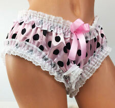 PINK frilly open crotch CROTCHLESS SISSY satin Polka Dot lace panties OS