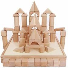 IPlay, ILearn Kids Wooden Building Block Set, 72 PCS Castle Blocks Kit, Natural