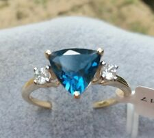2.22 cts Genuine London Blue Topaz Size 7 Ring in 10k Gold w White Zircon Accent