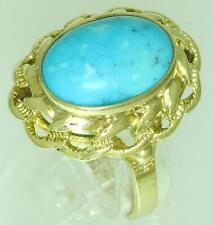 Eleganter Zierring  Ring 333 Gold 8 K  mit Türkis aus 2. Hand Aufgerbeitet!