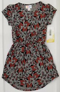 Size 4 LuLaRoe Mae Dress Gray Black Minnie Mouse Heads Bows NWT