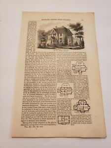 Country House Plans Model Cottage Wooden Villa 1.5 Story Cottage 1855 Engraving
