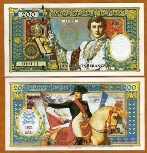 French Empire, 200 Francs, 2021 Private Issue > Napoleon Bi-Centennial of death