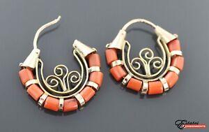 Vintage 12k Yellow Gold Coral Hoop Earrings
