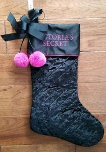 Victoria's Secret Black Velvet crush Pink Pom Pom Christmas Stocking New