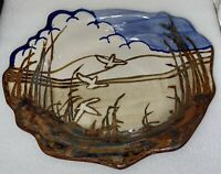 "Vintage Signed Art Pottery Handmade Glazed Serving Dish Signed 13"" Stoneware"