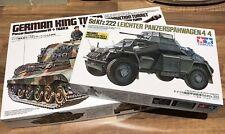 Tamiya 1/35 German WWII Kit Lot - King Tiger (started) & SdKfz 222 (as new)