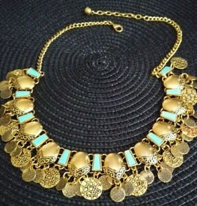 Gold Toned Metal /Cleopatra Style / Egyptian Influence/Pre-owned Necklace