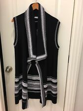 NWT Vince Cotton Textured Draped Long Sweater Vest Size M