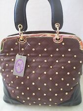 SHARIF BURGUNDY & BLACK VEGAN LEATHER  STUDDED SATCHEL HAND BAG PURSE - NWT