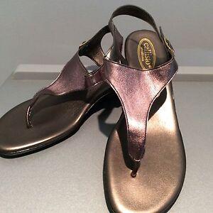 Callisto of California Miranda Pewter 8 M Sandal Shoes Women's T Strap Buckle