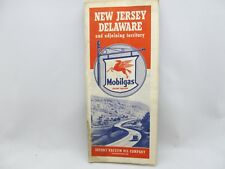 Mobilgas  1940 New Jersey Delaware  Road Map -  Mobilgas Shield sign