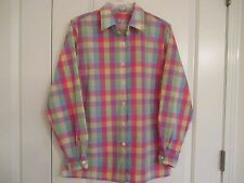 Foxcroft Sz 8 Wrinkle Free pastel large check cotton blend long sleeve Ex
