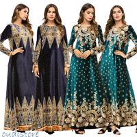 Women Muslim Floral Printed Maxi Dress Long Sleeve Abaya Vintage Cocktail Robe