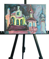 painting on board original acrylic impressionism architecture style signed