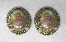 Vintage clip-on earrings, hand painted, made in Germany