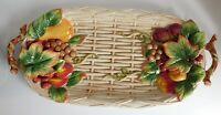 """Fitz & Floyd Country Gourmet Large Basket Weave Grape Embossed Platter 20 1/4"""""""