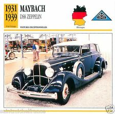 MAYBACH DS8 ZEPPELIN 1931 1939 CAR VOITURE GERMANY DEUTSCHLAND CARTE CARD FICHE