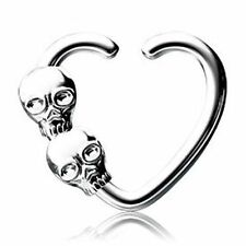 SKULL 16G SMALL Seamless Ring RIGHT ear Daith Tragus piercing jewelry