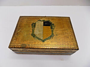 FLORENTINE Jewelry BOX Green & Gold TOLEWARE 6x4x2 HAND DECORATED GOLD ITALY