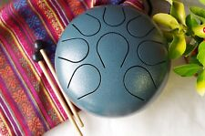 Hand Pan Drum Steel Tongue Drum Chakra drum WuYou 9in Great Christmas Gift Blue